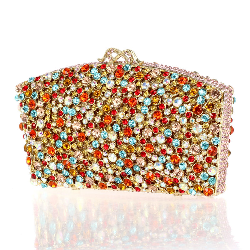 DC1989 New Arrival Fuchsia Purse for Ladies Party Crystal Clutches Zinc Alloy Hard Case Shoulder Chain Gold Plated(China (Mainland))