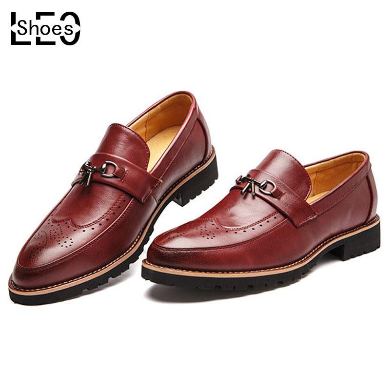 LEO 2016 Hot Sale New Men's Oxford Shoes Fashion Mens Leather Shoes Spring Autumn Men Casual Flat Patent Leather Man Shoes