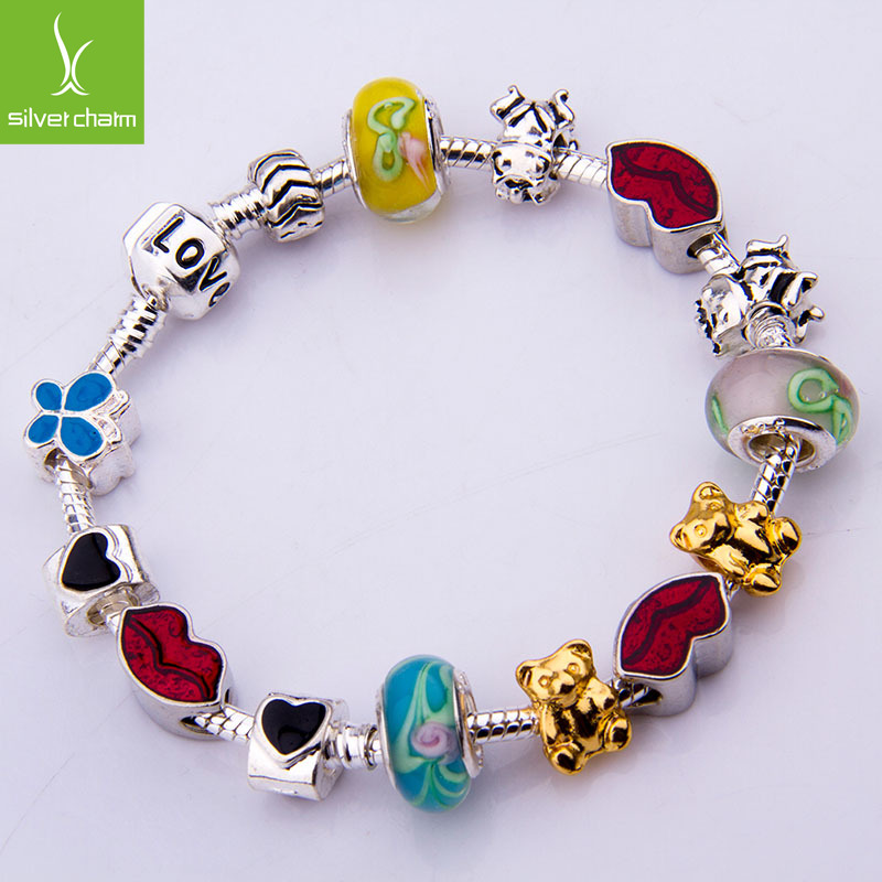 European 925 Silver Charm Love Charm Bracelet & Bangle For Women With Glass Beads Bijouterie PA1275(China (Mainland))