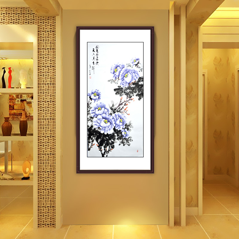 Chinese traditional peony flowers painting handpainted craft home decoration scroll paintings fengshui picture drawing(China (Mainland))
