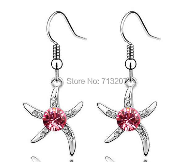 Free shipping!!!Austrian Crystal Earring,New Year Gift, Zinc Alloy, with Austrian Crystal, brass earring hook, Starfish