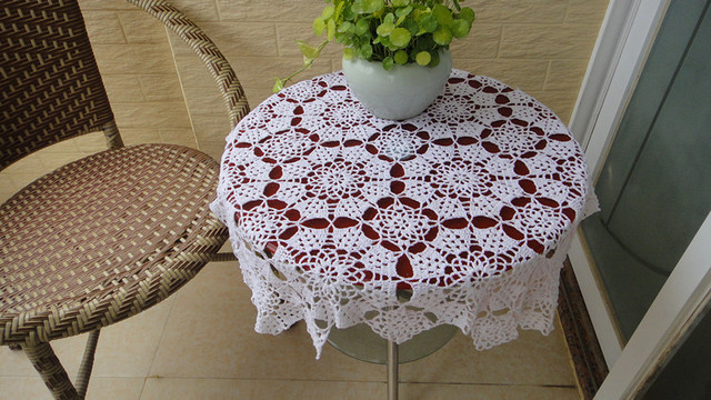 Hot sale100% cotton hand knitting Crochet tablecloth 75x75cm decorative Table cover lace doily