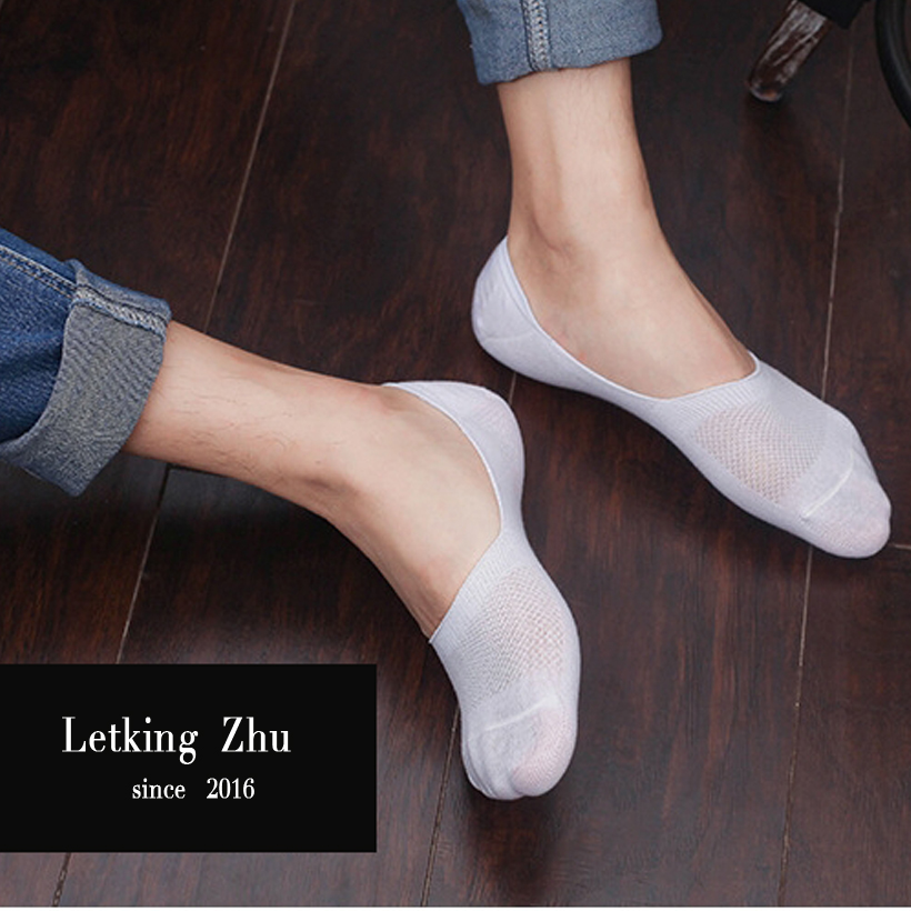 Letking Zhu 150 10pcs 5pairs lot men s socks 2016 summer Non slip Silicone Invisible Boat