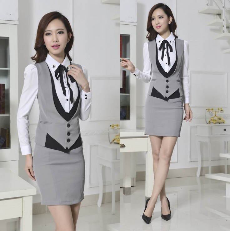 New 2015 Novelty Grey Spring Autumn Formal Work Wear Women s Suits with Skirt Elegant Ladies