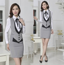 New 2015 Novelty Grey Spring Autumn Formal Work Wear Women's Suits with Skirt Elegant Ladies Office Female Beautician Uniforms