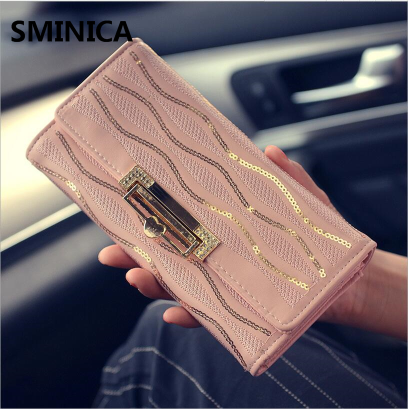 2016 fashion female wallets High-quality Leather Sweet Lady Wallet Women Long Style Purse Card Holder wholesale and retail(China (Mainland))