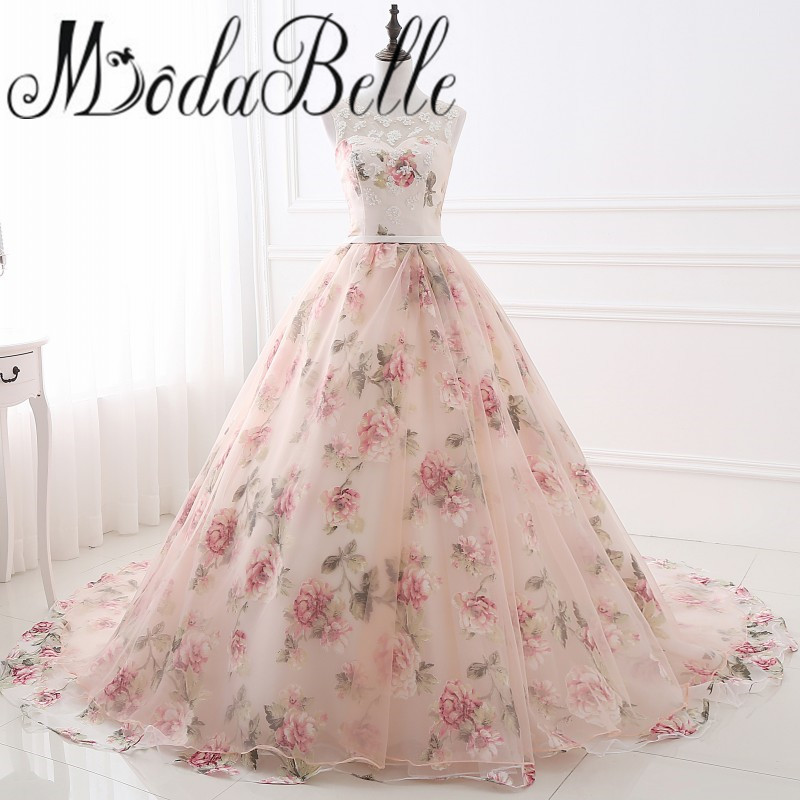 Beautiful Flower Print Floral Wedding Dresses Real Photo Princess Cheap Simple Lace Pink Blush Bridal Ball Gowns Gelinlik 2017(China (Mainland))