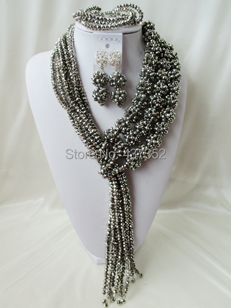 Amazing 2015 New Silver Plated Crystal Ball Costume Necklaces Nigerian Wedding African Beads Jewelry Set NC1194<br><br>Aliexpress