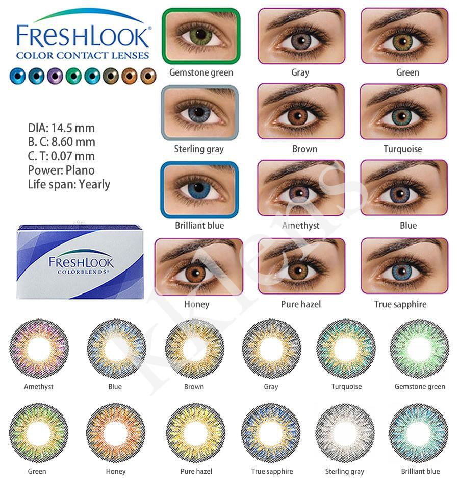 50pcs = 25 pair = 100 box Contact freshlook conact lens crazy Color 3 Tones colors lenses EYE 12 Color(China (Mainland))