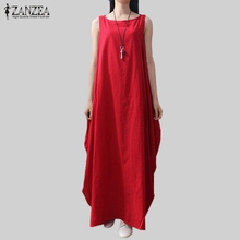 Buy Casual Retro Solid Summer Dress 2017 Women Elegant Loose Sleeveless O Neck Dress Cotton Linen Long Maxi Dress Vestidos Plus Size for $12.51 in AliExpress store