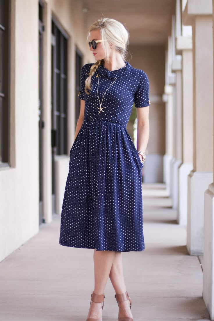 2015 casual blue pleated summer style dot short sleeve stand collar mid-calf fashion women party beach dress hot sale(China (Mainland))