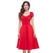 Black Red Blue Knee Length Swing Rockabilly Women Summer Dress Short Sleeve Retro Pin Up Vintage 50s Dresses Evening Party 8902(China (Mainland))