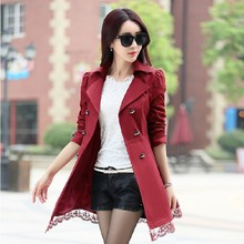 2016 fashion female spring slim trench coat / women's lace lap style solid colour  double breasted long coat / size M-XXXL(China (Mainland))