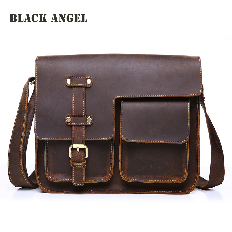 Фотография Classic design genuine crazy horse leather men messenger bags vintage shoulder crossbody school bag