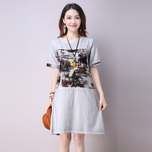 Free Shipping 2016 New Style Literary O-neck Dress Vintage Style Dress Summer Women Loose Knee-length Dress