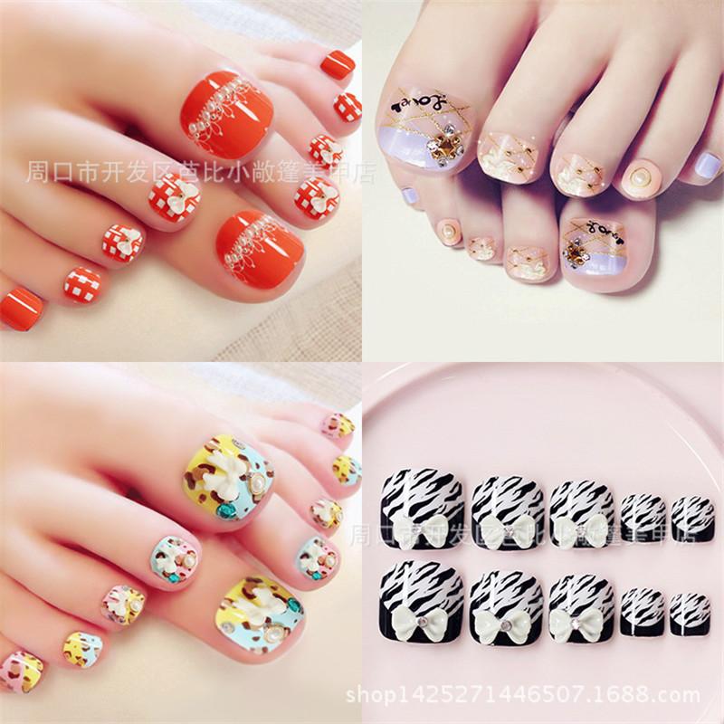 Summer toenails finished manicure Kawaii foot patch nails to 24pcs/ box Fake nails T018(China (Mainland))