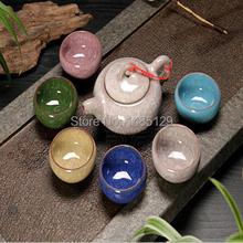 Fujian High grade crackle glaze seven piece Tea set porcelain Tea pot Puerh Teapot Gift box
