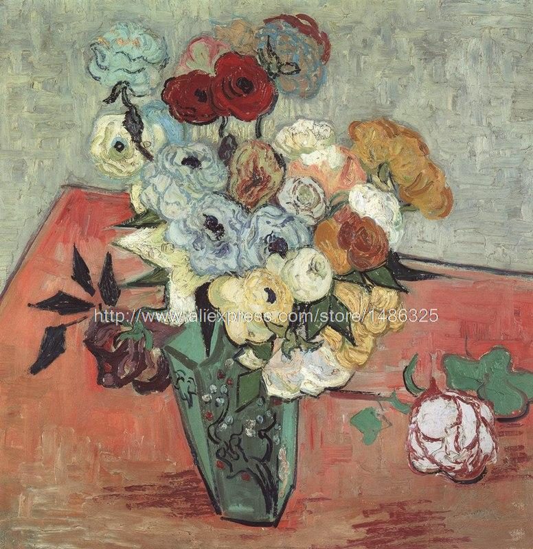 w Impressionist oil painting of Flower s roses and anemones Van Gogh oil painting Still Life vase of fresh Flower s(China (Mainland))
