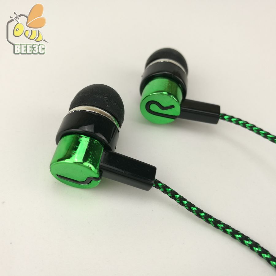 common cheap Clearance sale serpentine braid cable headset earphones headphone earcup direct manufacturer sell blue green 500pcs(China (Mainland))