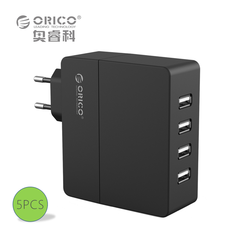 ORICO DCA-4U 4-Port Wall USB Phone Smart Charger 5V2.4A*4 6A30W Total Output -Black/White (5PCS)(China (Mainland))