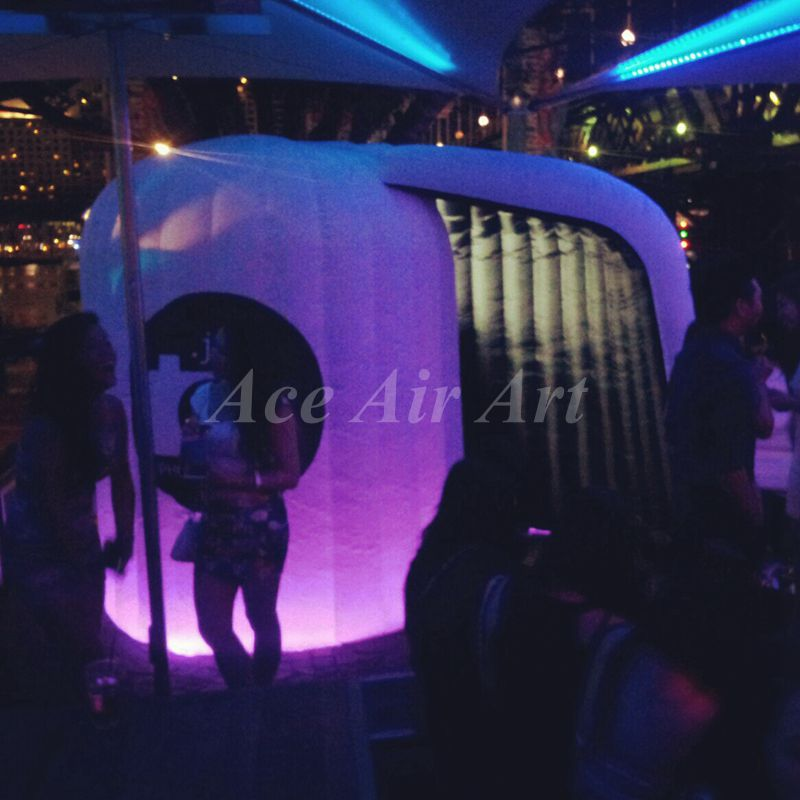 Newest advertising photobooth customized led inflatable lighting circle photo booth(China (Mainland))