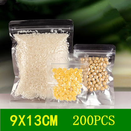 9x13cm 200pcs Reclose clear pack bags/ Thicken plastic packaging electronic components,snacks,cosmetics,food,etc pouchs(China (Mainland))