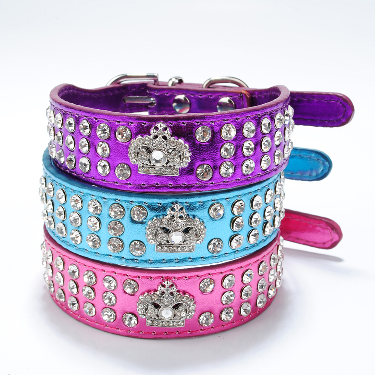 Bling Pu Leather Rhinestone Crystal Crown Pet Dog Collar,Cat Puppy Collars Red Purple Blue Rose XS S Neck For Teddy Chihuahua(China (Mainland))