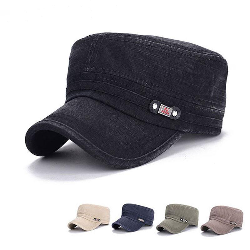 Men's Brand new fashion snapback baseball cap Outdoor Gorras Fishing hat Denim fabric washed flat cap Military hat 5 colors(China (Mainland))