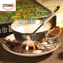 Top Quality Royal Bone China Coffee Cup Set Ceramic Tea Cups And Mugs With Spoon Saucer-Oil Painting Empress Josephine(China (Mainland))