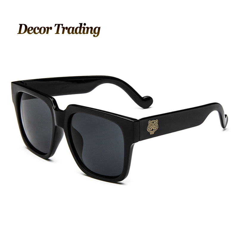 Designer Eyeglass Frames For Large Heads : Classic Big Frame Tiger Head Coating Lens Sunglasses Men ...