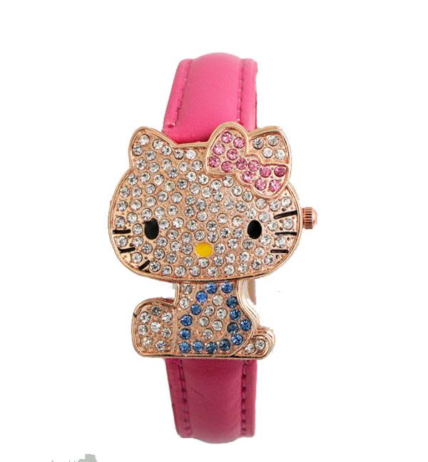 New Arrive Lovely Hello Kitty Watch Children Girl Women Dress Fashion Crystal Quartz Wristwatch Female Watch 048-28(China (Mainland))