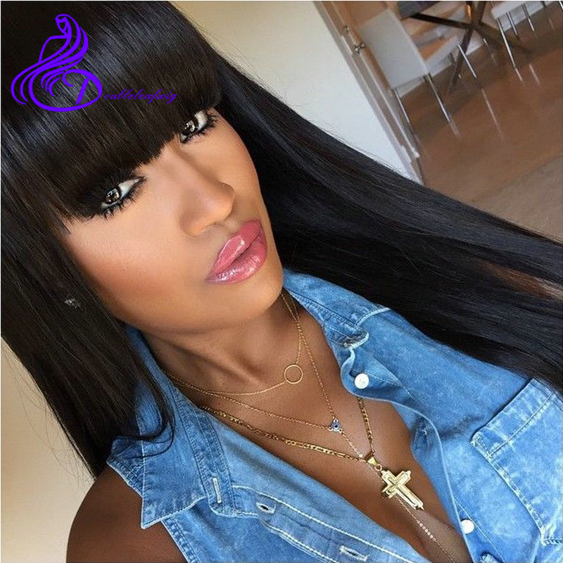 Cheap Silky Straight Brazilian Human Hair Lace Front Wigs with Fringe 6A Straight Glueless Full lace Human Hair Wigs with Bangs<br>