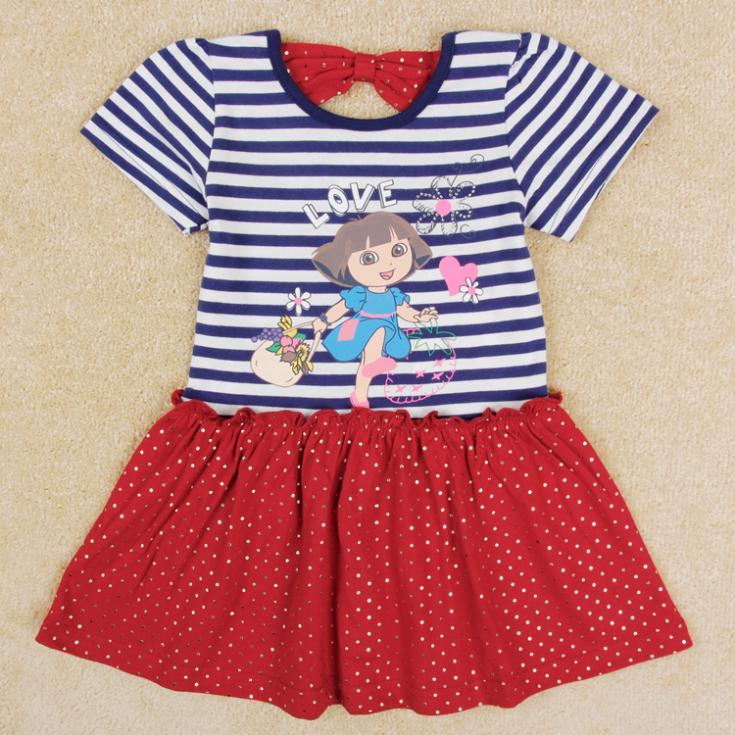 Baby girls dress Nova brand new lovely Dora printed dress for girls child summer party dress(China (Mainland))