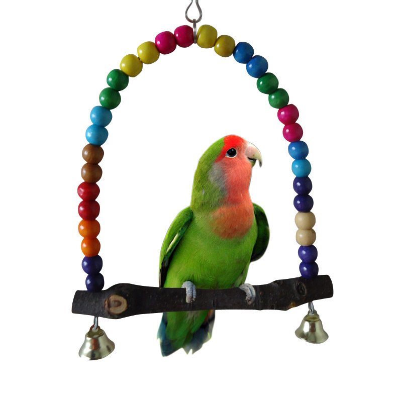 New Hot Colorful Wooden Bird Parrot Swing Toys Parakeet Cockatiel Budgie Cage Hanging #71947(China (Mainland))