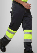 men's reflective pant with side pockets mens cargo pants men's safety working pant Mens High Visibility Trousers yellow 1pcs(China (Mainland))