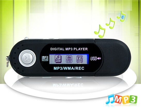 USB 2.0 MP3 Player with TF Card Reader AAA battery mp3 with FM Black New(China (Mainland))