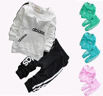 Розничные 2-6yrs 2015 новый хлопок весна дети детские мальчики девочки осень весна 2 шт. комплект одежды костюм ребенок рубашка + брюки комплект
