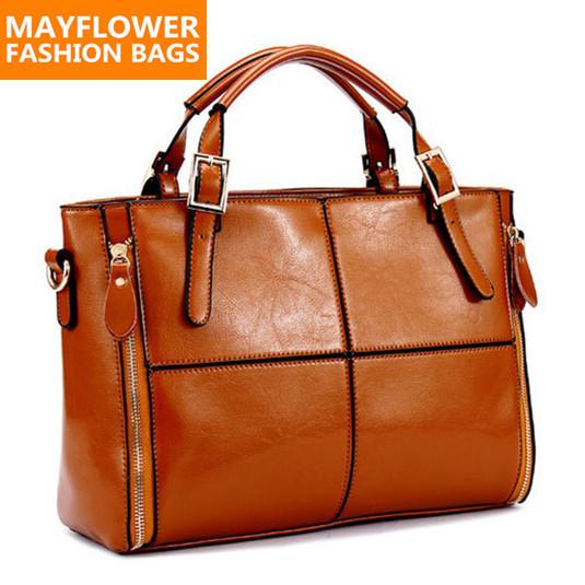 Real genuine leather bags women handbag fashion patchwork designer brand high quality ladies office messenger shoulder bags 2015(China (Mainland))