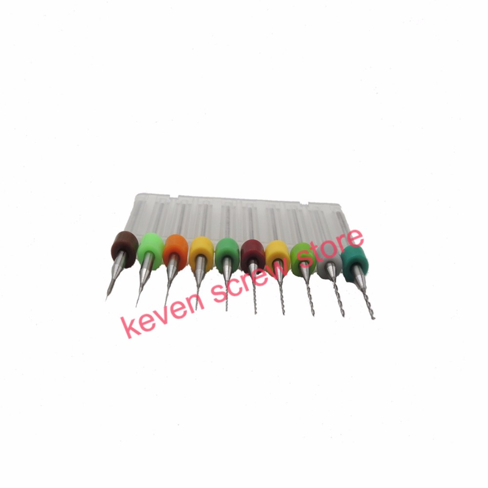 Free shipping 10pcs/Set HighQuality Hard Alloy PCB Print Circuit Board Carbide Micro Drill Bits Tool 0.1 to 1mm for SMT CNC