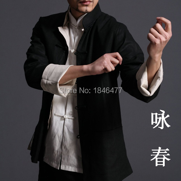 High Quality Bruce lee wing chun reversible jacket clothes kung fu uniforms Top traditional chinese clothing Tang suits for men(China (Mainland))