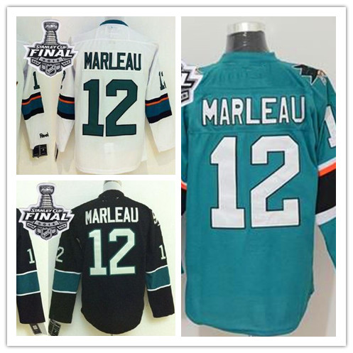 2016 New hockey #12 Patrick Marleau White black jerseys Stitched hockey GREEN Jersey size M L XL 2XL 3XL 4XL 5XL(China (Mainland))
