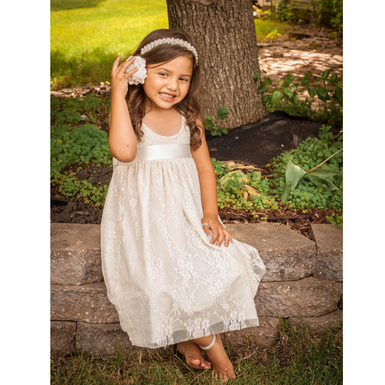 Beautiful Country Beach Boho Sleeveless White Ivory Flush Pink Champagne Flower Girl Dress<br><br>Aliexpress