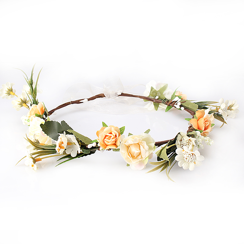 M MISM Bride Women Flower Crown Hair Band Wedding Floral Headband Garland Festival Ribbon Bow Flower Wreath Elastic Headdress(China (Mainland))