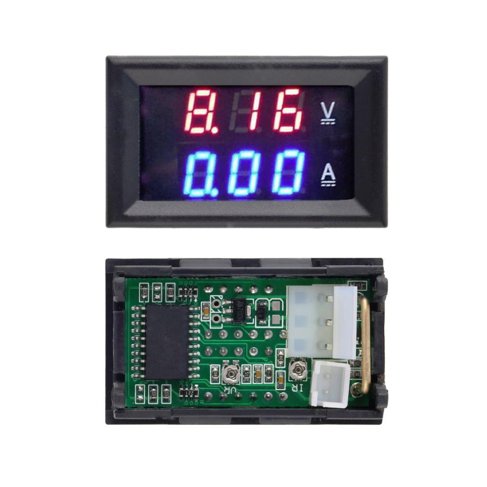 1pc digital voltmeter ammeter voltimetro Blue Red LED Amp amperimetro Dual Volt Meter Gauge voltage meter DC 100V 10A Wholesale(China (Mainland))