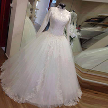 High Quality Long Sleeve Beaded Shinning Muslim Wedding Dresses New Lace Appliques White Bridal Gown Arabic Hijab MWD05(China (Mainland))