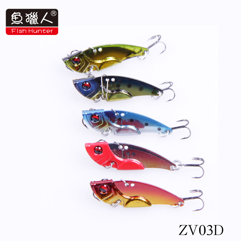 Free Shipping Fish Hunter axe hard bait vibration Vibration ZV03D 43mm 7g swimming Lure Bait hook