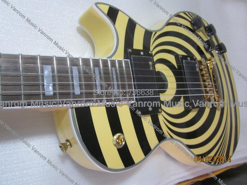 EMS lp custom guitar Bullseye black yellow style Electric Guitar china zakk wylde Custom Signature - Vanrom Music Inc. store