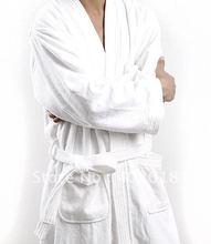 Wholesale products--100PCS/Lot, Bathrobe, Cotton robes, men/women gowns White color, Size M,L,XL, Unisex(China (Mainland))