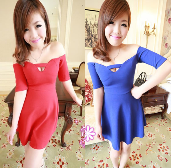 2013 spring women's sexy slit neckline high waist one-piece dress solid color free ship dropship