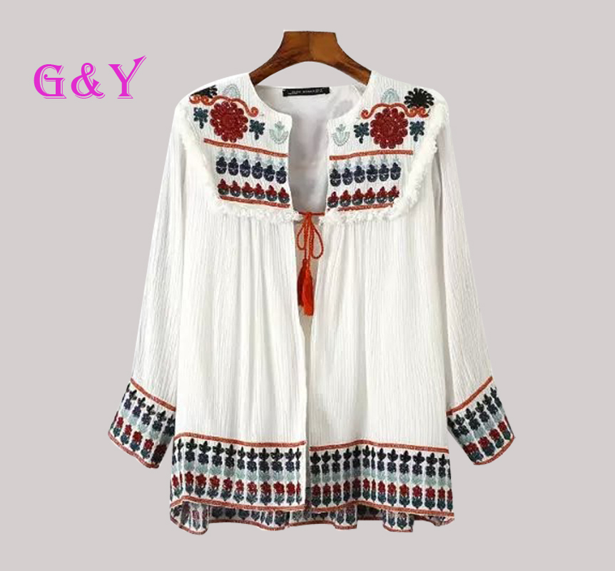 Sexy Women Vintage Retro Ethnic Fashion Embroidered Blue and White Flower Print Loose Casual Linen Cardigan Jacket SunscreenОдежда и ак�е��уары<br><br><br>Aliexpress